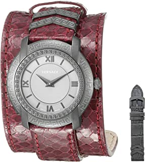 Women's 'DV-25' Swiss Quartz Stainless Steel and Snake Skin Casual Watch, Color:Red (Model: VAM070016)