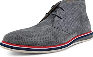 Asher Green, Style AG4022 - Men's Genuine Cow Suede Chukka Boot with Perforations and Tri-Color Heel