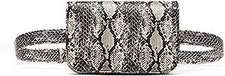 Small PU Leather Elegant Fanny Pack Belt Bag Purse Snakeskin pattern for Women Travel
