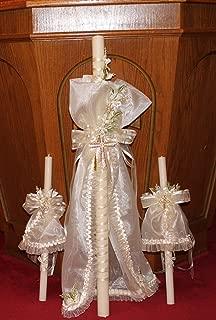 Baptism and Christening Greek Candles - Baptism Lambatha / Lambada Baptism Candle Set of 3