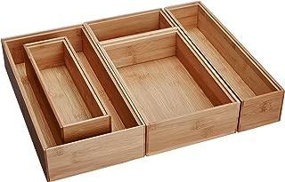 Lipper International 88005 Bamboo Wood Drawer Organizer Boxes, Assorted Sizes, 5-Piece Set