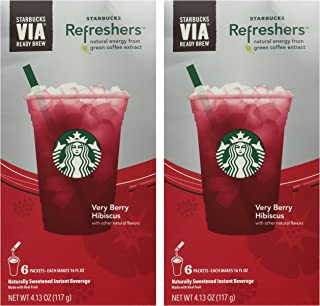 Starbucks Via Instant Refreshers - Very Berry Hibiscus - 6 Packets (Pack of 2)