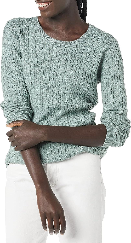 Amazon Essentials Women's Lightweight Long-Sleeve Cable Crewneck Sweater