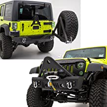 Restyling Factory -Stinger Front Bumper with OE Fog Lights Housing and Winch Plate+Rear Bumper with Tire Carrier and 2