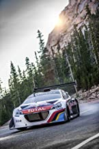 Peugeot 208 T16 Pikes Peak Race Day (2013) Car Art Poster Print on 10 mil Archival Satin Paper White Front Motion View 36