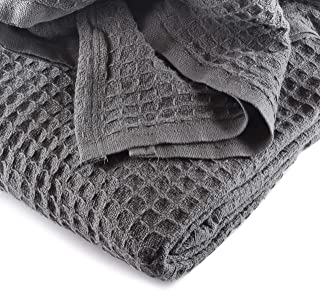 JMR Cozy Waffle Weave Blanket   Cotton Medium Weight Hotel Throw Blankets Great for All Seasons   Upgrade Your Home Decor with Hypoallergenic Soft Quilt for Bed, Couch & Sofa (Charcoal, Twin 66 x 90)