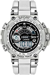 Lamkei LAM-1318 Black Dial White Silicone Strap Digital Multifunction Watch for Men