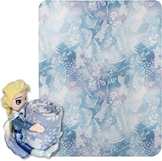 """Disney Frozen 2, """"Whimsical Patter Elsa"""" Character Shaped Pillow and Fleece Throw Blanket Set, 40"""" x 50"""", Multi Color, 1 Count"""