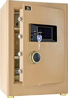 Digital Security Safe Box for Home Office Double Safety Key Lock and Password 2.05 Cubic Feet by TIGERKING