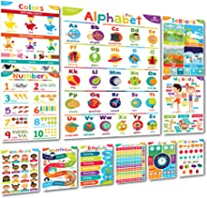 Sproutbrite Educational Posters and Classroom Decorations for Preschool - 11 Early Learning Charts for Toddlers, Pre-K, Ki...