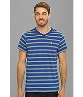 U.S. POLO ASSN. - Short Sleeve Striped T-Shirt with V-Neckline