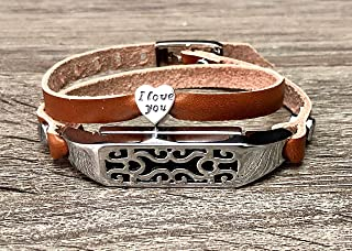 Bronze Leather Bracelet For Fitbit Flex 2 Tracker Handmade Double Wrap Adjustable Strap Fitbit Flex 2 Band Silver Jewelry Holder I Love You Heart Shaped Charm Women Fashion Accessory