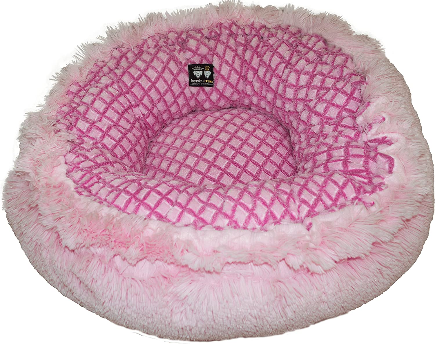 BESSIE AND BARNIE Hybrid Bagelette BedCC PFM Cotton Candy PinkitFence Medium Hybrid Baguette Pet Bed