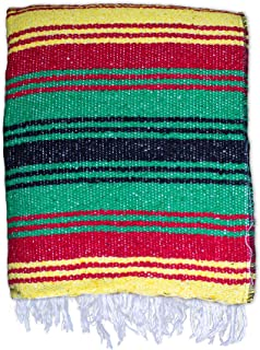Windy City Novelties Soft Mexican Falsa Blanket | Colorful Rasta Themed | for Yoga, Meditation, Beach Parties, Festivals & Fiestas, Authentic - Made in Mexico