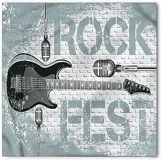 Ambesonne Rock Music Bandana, Guitar on Brick Wall, Unisex Head and Neck Tie