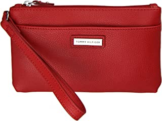 Tommy Hilfiger Womens Leather Wristlet - Salsa
