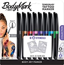 BIC BodyMark Temporary Tattoo Marker, Temporary Tattoo Pen, Assorted Colors, 8-Count