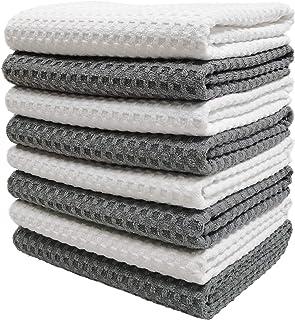 Polyte - 8 torchons de Cuisine en Microfibres Ultra Premium - Main/Vaisselle - Tissu alvéolé (Gris/Blanc, 40x71 cm)