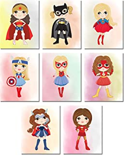 Cute Superhero Girls Wall Art Prints - Set of 8 (8 inches x 10 inches) Supergirl Bedroom Playroom Photos