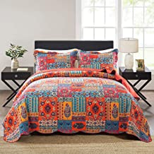 NEWLAKE 3 Pieces Quilt Bedspread Coverlet Set,Tropical Bohemian Pattern, Queen Size
