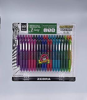 Zebra Z-Grip Retractable Ballpointe Pens Medium Point 1.0mm 40 Count, 9 Assorted Colors