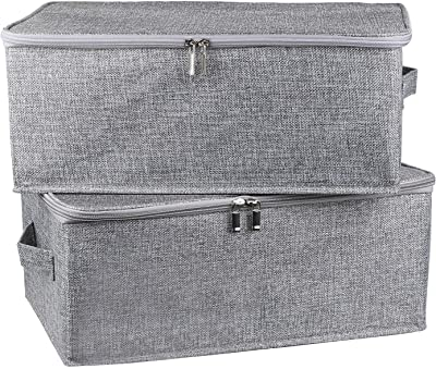 Foldable Storage Bin Cube with Lids, 2 Pack Collapsible Fabric Storage Box Organizer with Handle, Storage Basket Containers for Home Closet Shelves Office Nursery (Grey, Small)