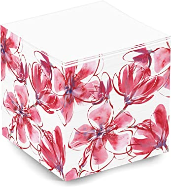Cute Pink and Red Floral Blank Note Memo Cube for Teen Girls and Women. 500 Sheet 3.5x3.5x3.5 Inch Sticky Note Cube for Schoo