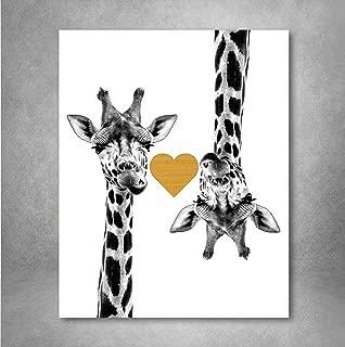 Gold Foil Art Print - Giraffe Love With Gold Foil Heart 8x10 inches