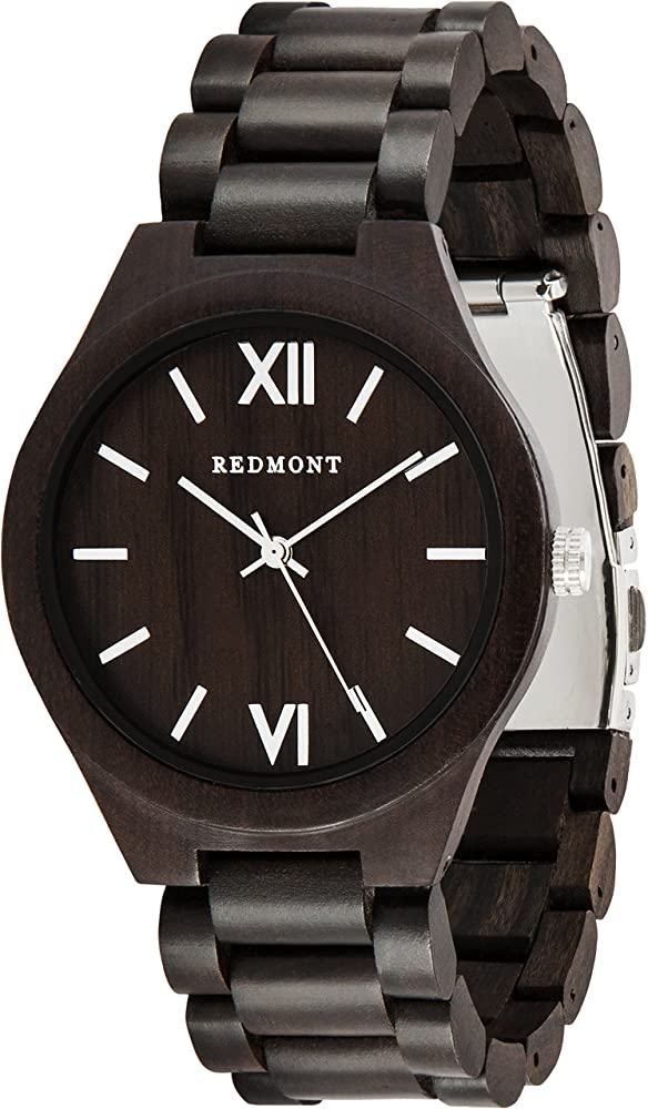 Oliver redmont, orologio per uomo, realizzato in autentico legno di sandalo, nero WATCHA