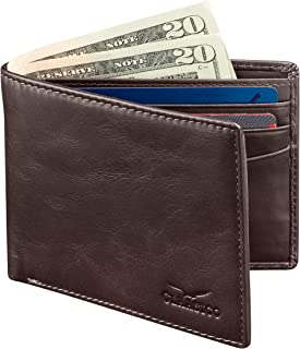 Slim Bifold Wallet For Men Genuine Leather RFID Blocking,Packed In Stylish Gift Box (Dark brown)