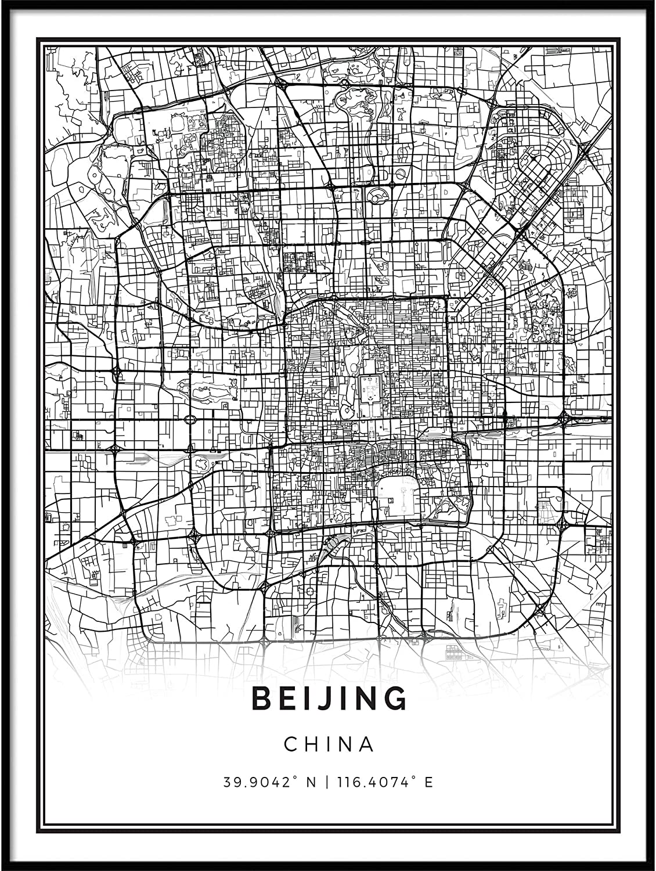 Beijing Print Beijing Wall Art Custom Map Print Beijing Map Print Beijing Map Poster Beijing Wall Art Beijing China  Map