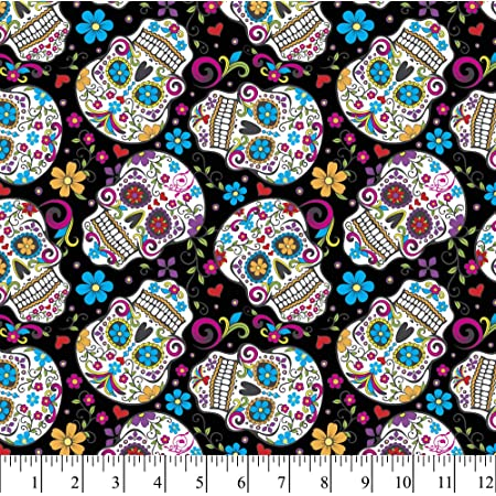 Sugar Skulls Day of the Dead Black Fabric Day of the Dead Kitty Fabric Collection for Timeless Treasures Priced by Half Yard Increments