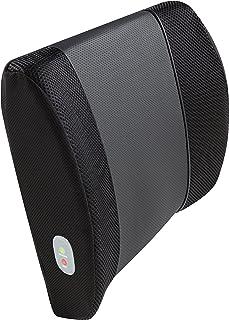 Relaxzen 3D Mesh and PU Massage Lumbar Support Cushion with Heat, Black