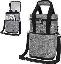 OPUX 4 Bottle Wine Cooler Bag   Wine Bottle Carrier for Travel   Wine Tote with Adjustable Shoulder Strap and Padded Prote...