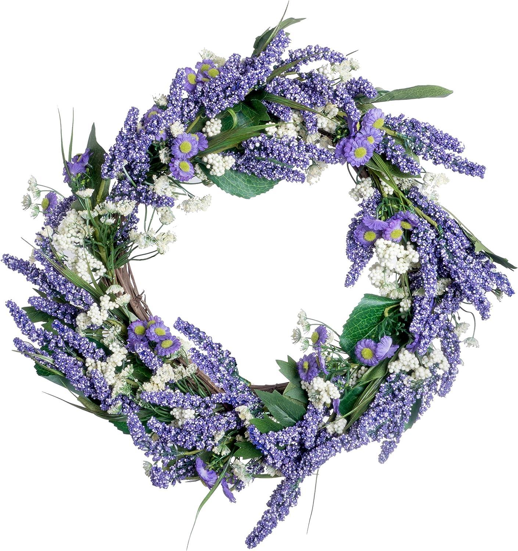 Red Co. 18  Lavender Baby's Breath, Artificial Spring & Summer Wreath, Door Backdrop Ornaments, Home Décor Collection