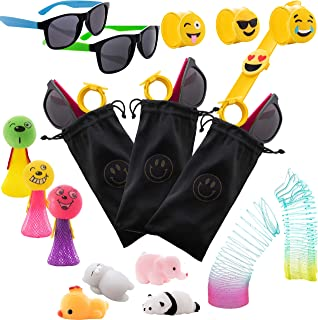 FujiFun 50pc Kids Party Favor Premium Goodie Bags Set | 10x Goodie Bags with Design, 10x Sunglasses, 10x Emoji Slap Bracelet, 10x Mochi Squishy Toy, 10x Magic Springs, 10x Jumping Popper Springs | Great Prizes For Birthdays, Sports Games, Loot Bags, Holidays, Classrooms, Doctors Office, Grab Bags