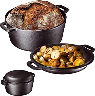 Bruntmor Heavy Duty Pre-Seasoned 2 In 1 Cast Iron Pan 5 Quart Double Dutch Oven Set and Domed 10 inch 1.6 Quart Skillet Lid,