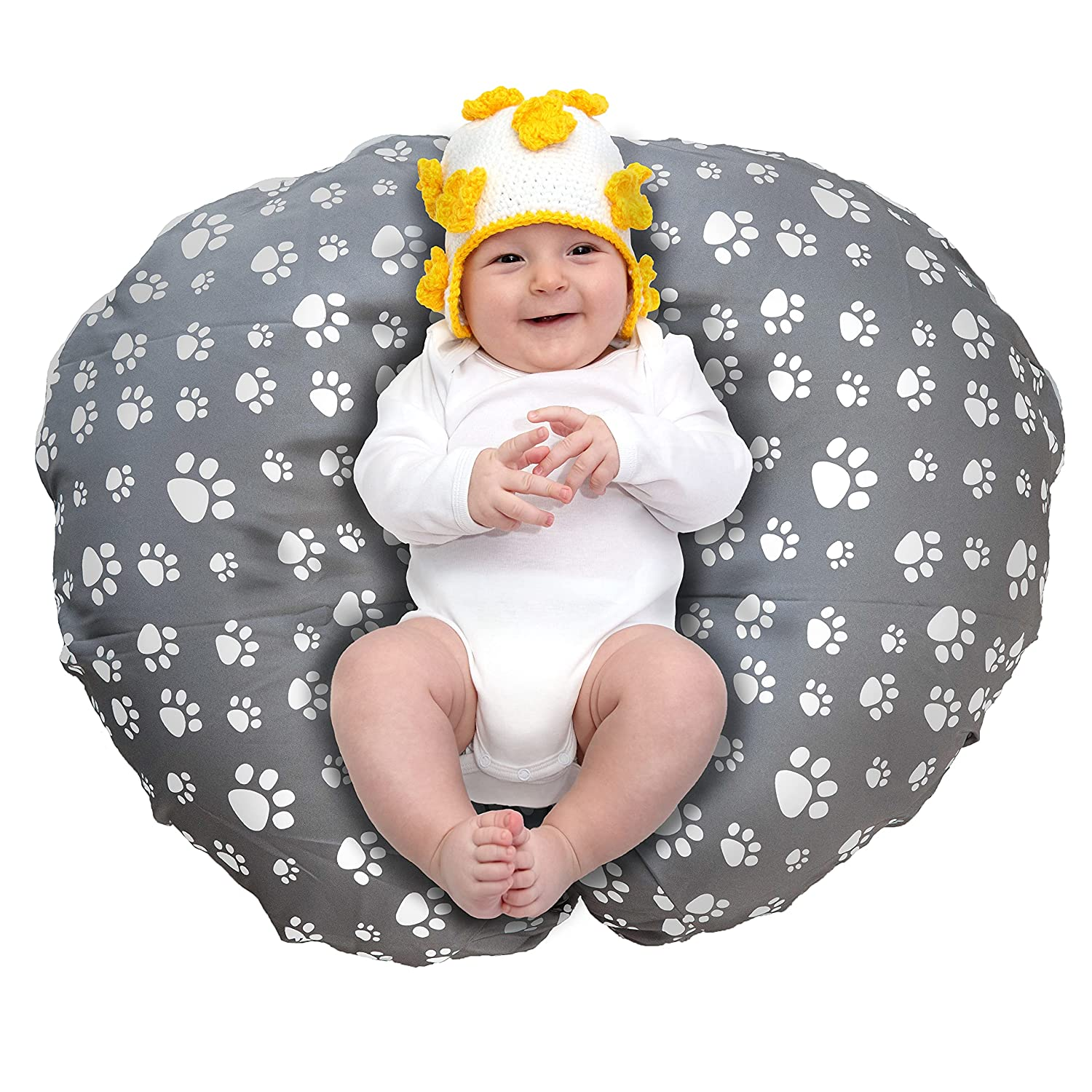 Removable Cover for Newborn Baby Lounger/Water Resistant/Soft and Comfy/Hypoallergenic/Premium Quality/Easy Cleaning/Grey Paw Print (Lounger Pillow Not Included)
