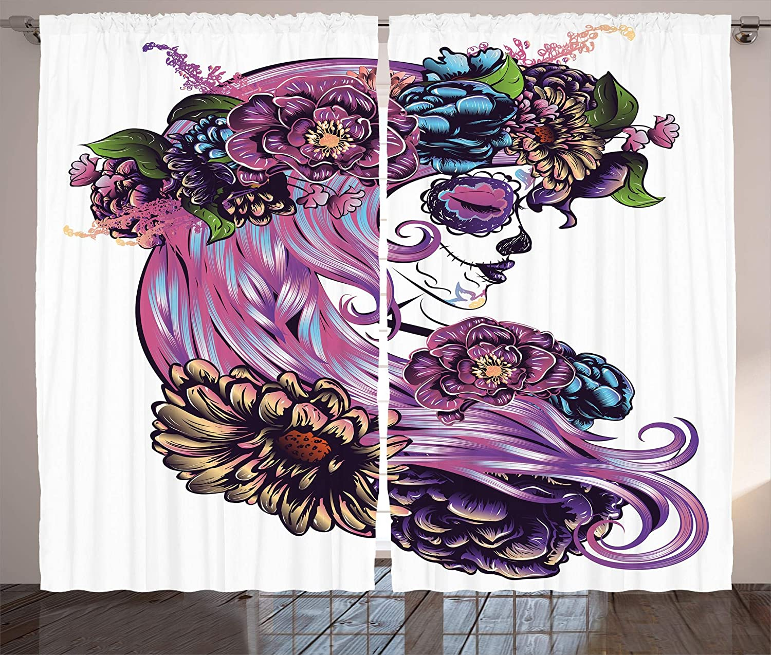 Ambesonne Gothic Decor Collection, Day of the Dead Illustration with Sugar Skull Girl in Decorative Flower Wreath Print, Living Room Bedroom Curtain 2 Panels Set, 108 X 84 Inches, bluee Purple Pink