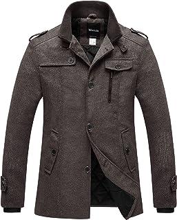 Wantdo Men's Wool Blend Pea Coat Single Breasted Thicken Warm Military Peacoat Jacket