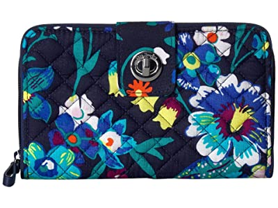 Vera Bradley Iconic RFID Turnlock Wallet (Moonlight Garden) Wallet Handbags
