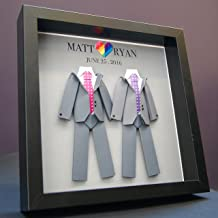 Personalized Gay Same Sex LGBT Wedding Gift, Marriage, Engagement, First Anniversary Paper Origami Groom & Groom Shadowbox Frame Custom Wall Art
