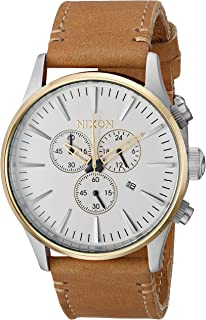Men's Sentry Chrono Leather Stainless Steel Japanese-Quartz Watch with Strap, Brown, 20 (Model: A4052548-00)