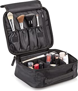 Travel Makeup Organizers and Storage Cosmetic Bag: Black Waterproof Toiletry Zipper Bags for Makeup Brushes Eyelash Curlers Lipstick Mascara Eyeliner Blush and More-Sleek Cosmetics Pouch for Traveling