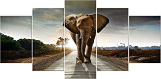 Wieco Art Elephant Extra Large 5 Panels Modern Stretched and Framed Giclee Canvas Prints Animals Landscape Artwork Grey Pictures Paintings on Canvas Wall Art for Living Room Home Decorations XL