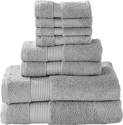Manor Ridge - Juego de 8 Toallas de Mano de algodón Turco (700 g/m², Muy Suaves, Pesadas y absorbentes, 2 baños, 2 Toallas de Mano y 4 toallitas), Color Azul, Gris, 1