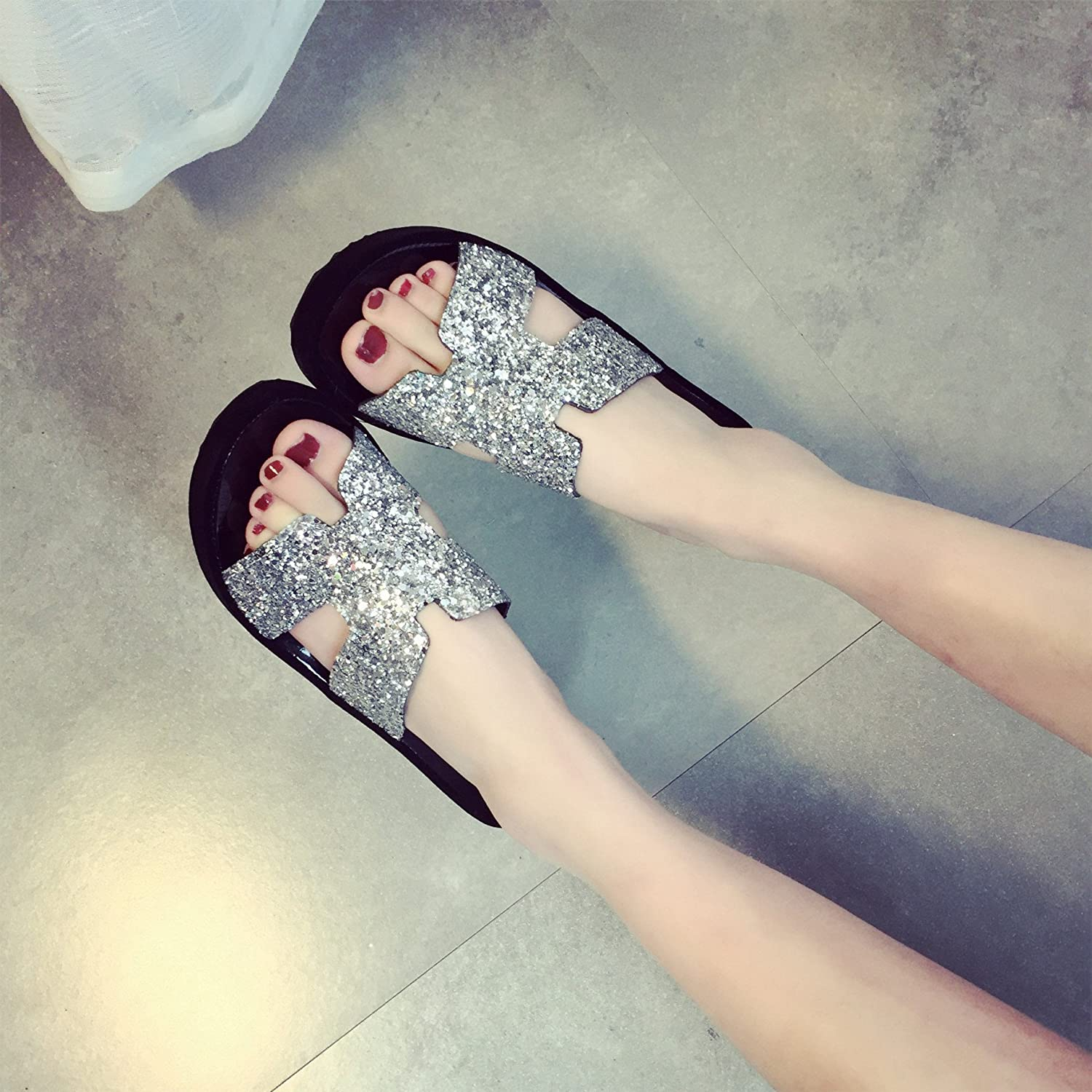 WYMBS Women's Sandals Spring Summer Fall PU Dress Casual Party & Evening Low Heel Rhinestone slippers ,silver,36