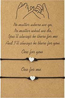 Howoo Pinky Promise Bracelet with Message Card Distance Matching Bracelet Anklets Gifts for Friendship Best Friend Couples Girlfriend Family.