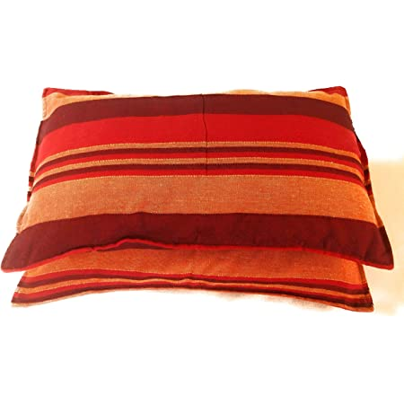 Rangbhar Handloom Pillow Covers, Set of 2 Khadi Cotton Pillow Covers, Striped, 18 x 27 inch- Red