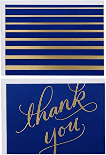 Hallmark Boxed Thank You Cards and Blank Cards with Envelopes, Navy and Gold Script (40 Thank You and Blank Notes)